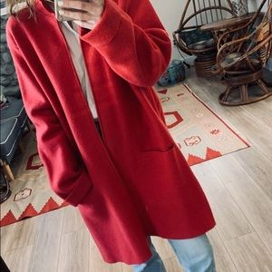 Eileen Fisher Red Strawberry Wool Long Jacket